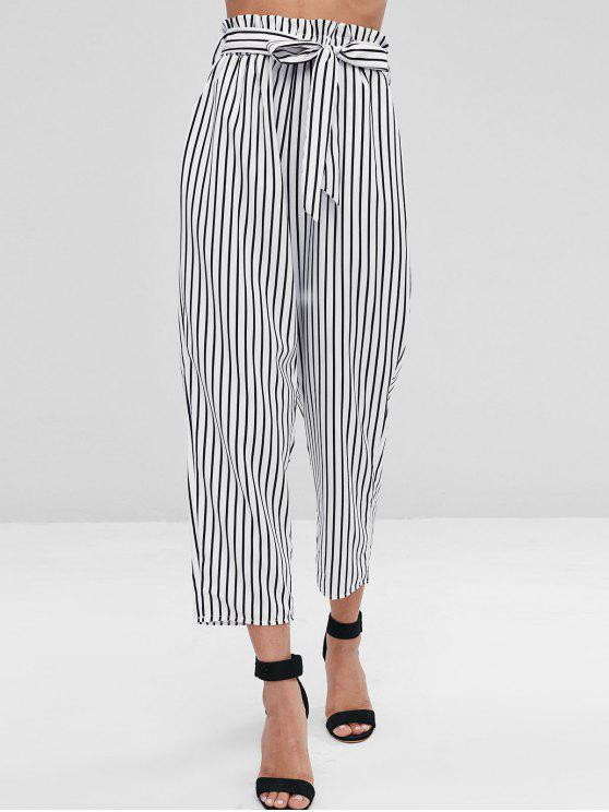 best Ninth Striped Paper Bag Pants - WHITE S