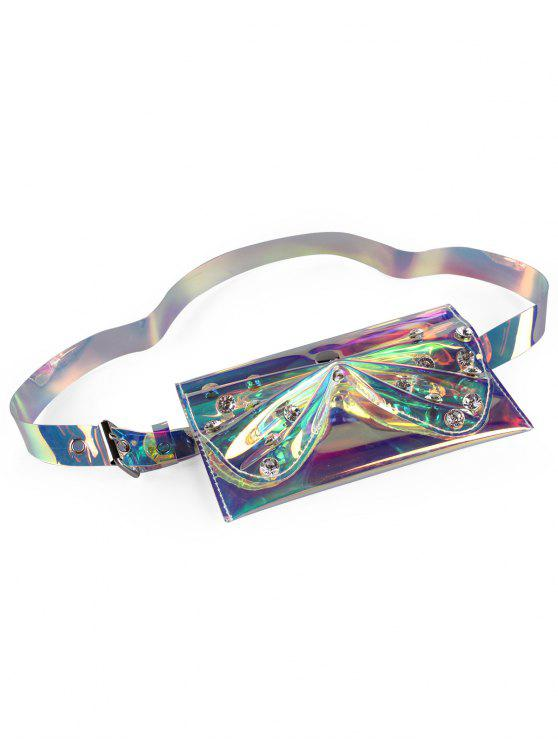 Rhinestone Bowknot Fanny Pack Jelly Belt Bag - Multicolor-A