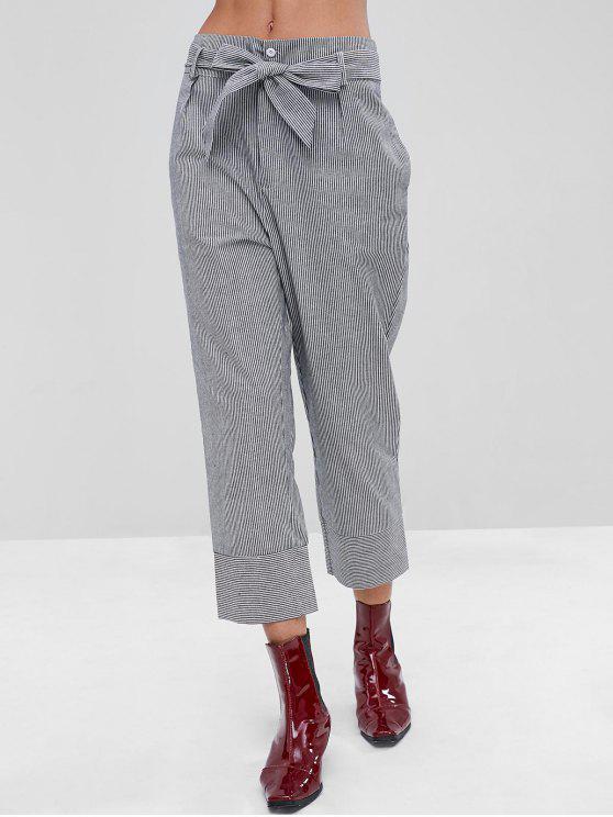 Pantaloni A Righe Con Cintura - Nero XL