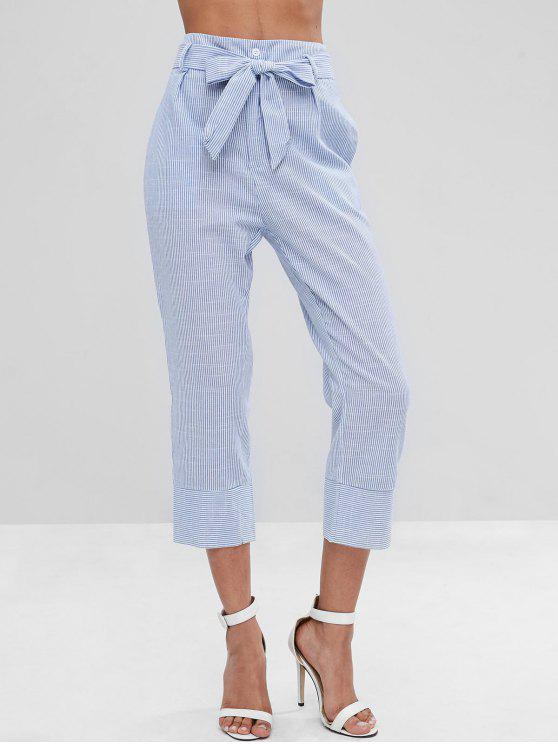 Pantaloni A Righe Con Cintura - Blu Chiaro S