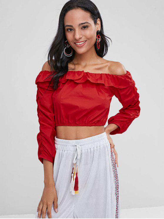 women's Off The Shoulder Cropped Blouse - LOVE RED M