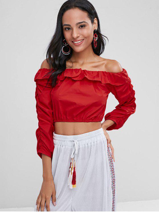 Blusa corta con hombros descubiertos - Amo Rojo S