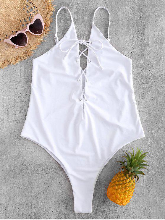 Plus Size Lace Up High Leg Swimsuit WHITE