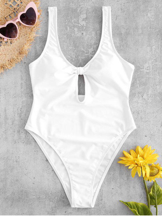 fashion Knot Keyhole High Leg Swimsuit - WHITE S
