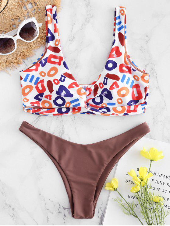 affordable Plunge Letter Print Twisted Bikini - MULTI S