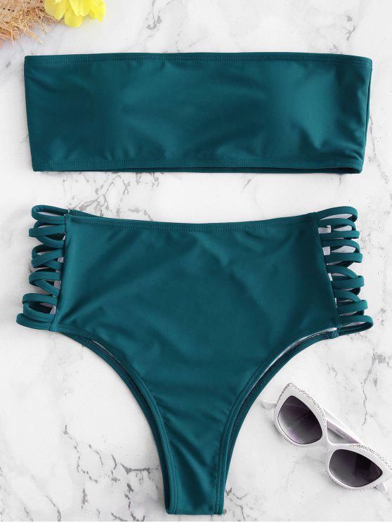 affordable Lattice Side Bandeau Bikini - PEACOCK BLUE M