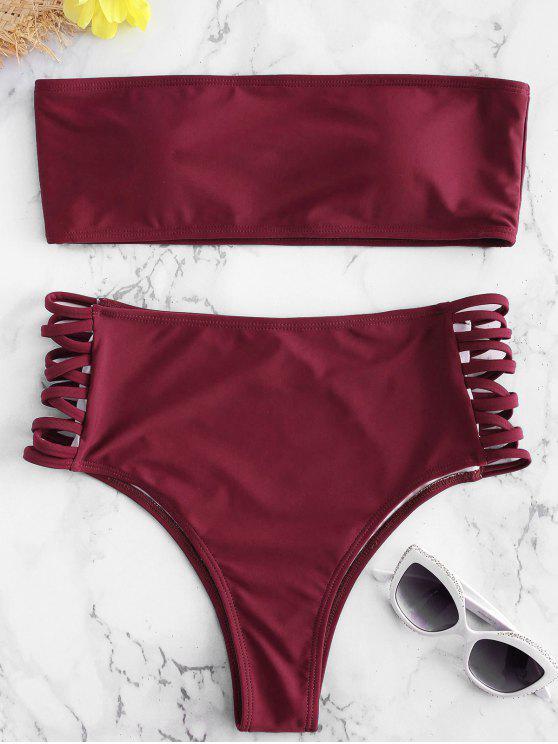 new Lattice Side Bandeau Bikini - RED WINE L