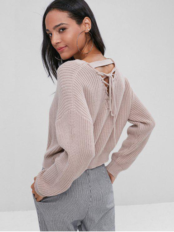 ladies Back Lace Up Crop Knit Sweater - KHAKI ROSE ONE SIZE