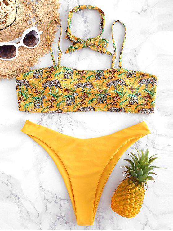 Bikini Plus Size A Taglio Alto Con Stampa Leopardo - Giallo Rubber Ducky 3X