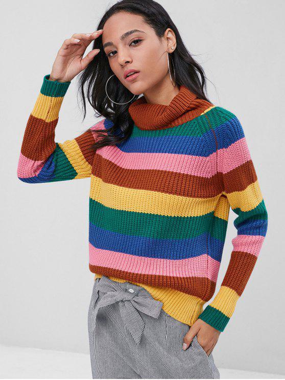 hot Striped Chunky Turtleneck Jumper Sweater - MULTI M