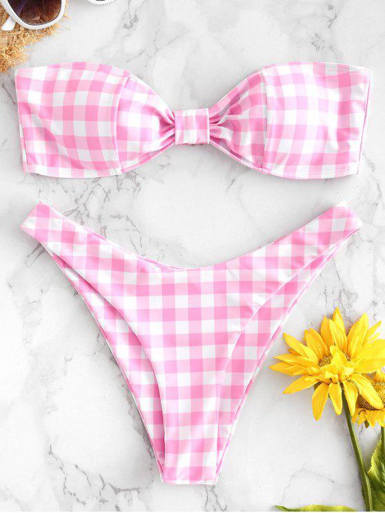 Gingham Hohe Schlitz Bandeau Bikini - Blüte Rosa M