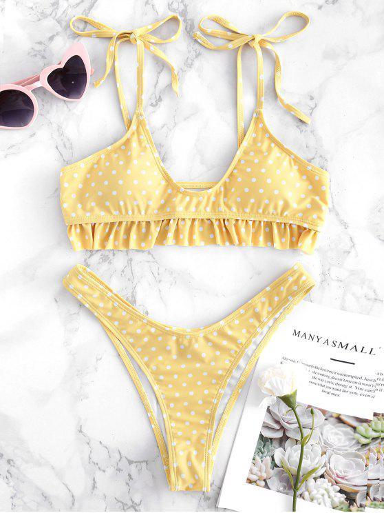 Riemchen Schulter Rüschen Polka Punkt Bikini Set - Gelb L