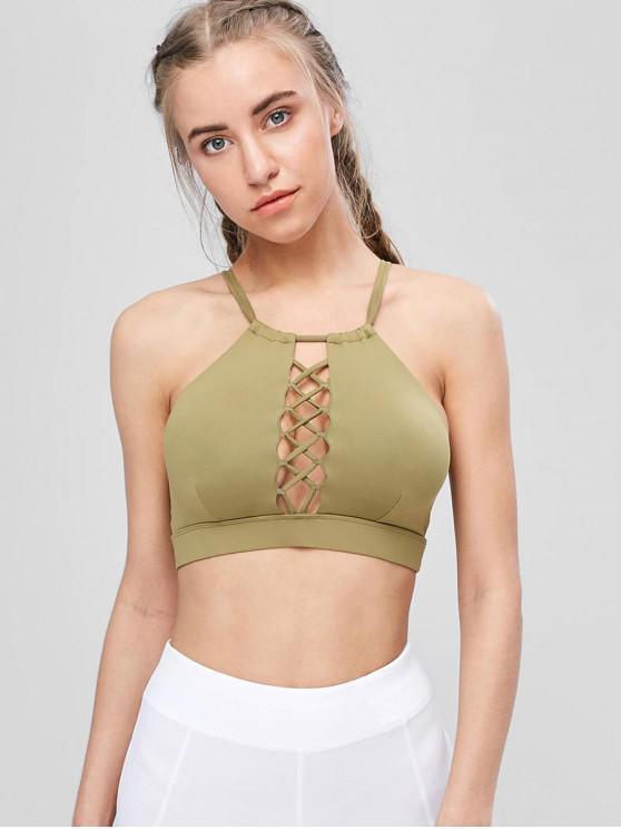 women's Cutout Lattice High Neck Sports Bra - ARMY GREEN L