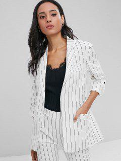 Striped Welt Pockets Boyfriend Blazer - White L