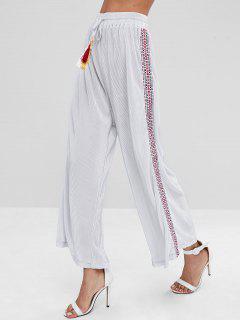 Pantalon à Jambes Larges Plissées En Patchwork - Gris Argenté L
