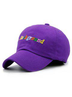 Colored Background Embroidery Snapback Hat - Purple
