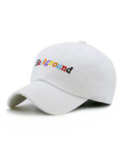 Colored Background Embroidery Snapback Hat - White