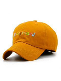 Colored Background Embroidery Snapback Hat - Tangerine