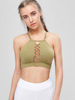 Cutout Lattice High Neck Sports Bra - Army Green S