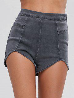 Cut Out Hem Denim Shorts - Gray L