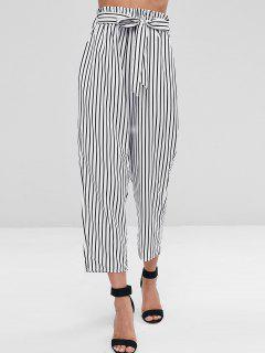 Pantalon De Sac En Papier Rayé  - Blanc L