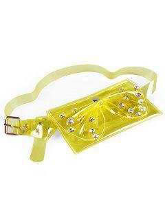 Rhinestone Bowknot Fanny Pack Jelly Belt Bag - Amarillo