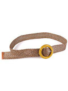 Vintage Wooden Round Buckle Knit Waist Belt - Dark Khaki