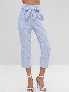 Stripes Belted Pants - Light Blue M