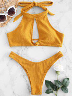 Bikini Noué à Col Haut Côtelé - Jaune D'abeille L