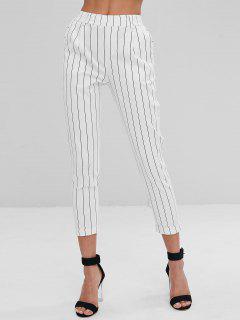 Striped Side Pockets Chino Pants - White L