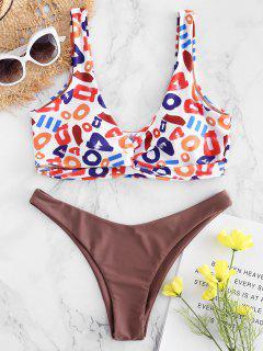 Plunge Letter Print Twisted Bikini - Multi M