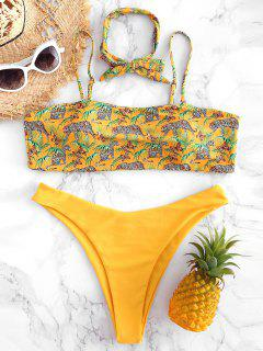 Plus Size Leopard High Cut Bikini - Rubber Ducky Yellow L