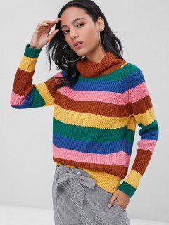 Striped Chunky Turtleneck Jumper Sweater - Multi L