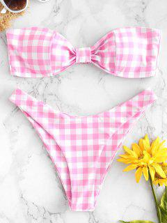 Gingham Hohe Schlitz Bandeau Bikini - Blüte Rosa L