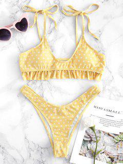 Riemchen Schulter Rüschen Polka Punkt Bikini Set - Gelb M