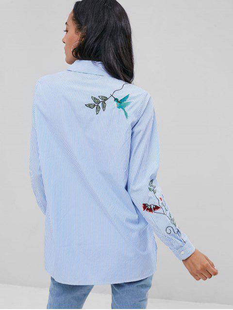 Camisa de rayas bordada en el bolsillo - Azul S Mobile