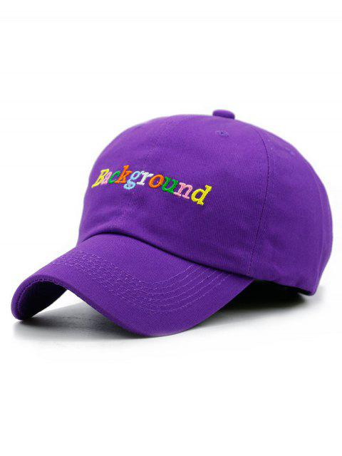 affordable Colored Background Embroidery Snapback Hat - PURPLE  Mobile