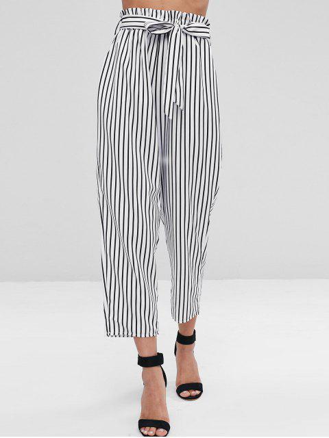 Novena pantalones de bolsa de papel rayado - Blanco XL Mobile