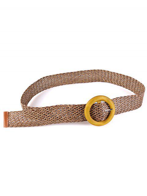 hot Vintage Wooden Round Buckle Knit Waist Belt - DARK KHAKI  Mobile