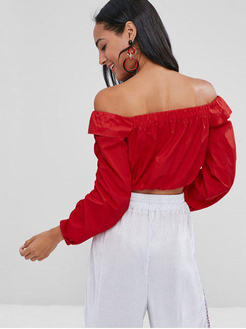 lady Off The Shoulder Cropped Blouse - LOVE RED S Mobile