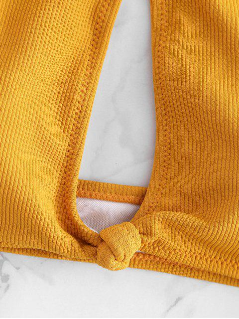 best Ribbed High Neck Knot Bikini - BEE YELLOW L Mobile