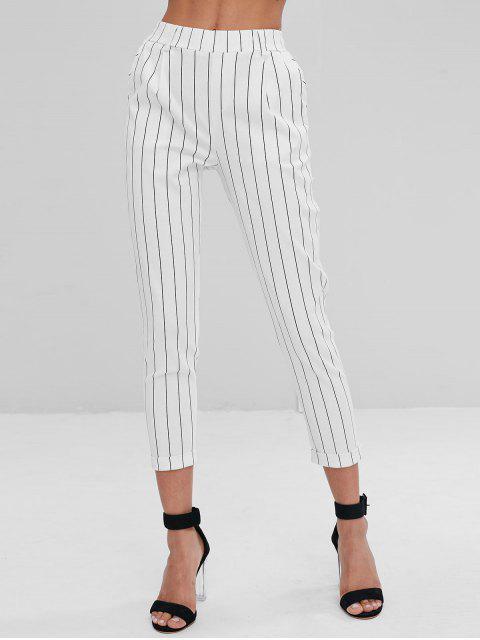 Gestreifte Seitliche Taschen Chino Pants - Weiß M Mobile