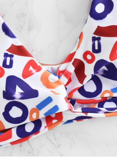 lady Plunge Letter Print Twisted Bikini - MULTI L Mobile