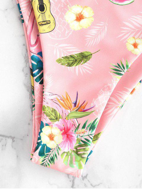 latest Flamingo Floral Bandeau Bikini - LIGHT PINK S Mobile