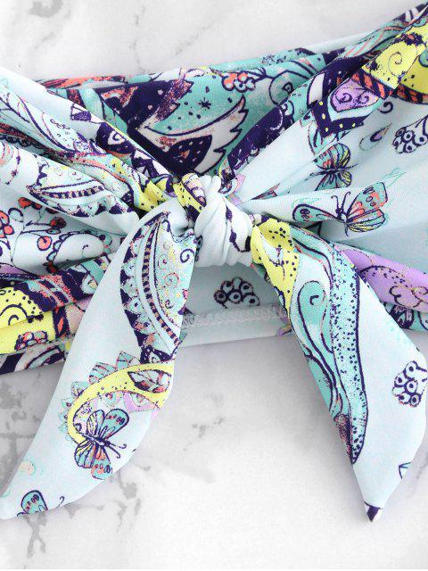 fashion High Leg Bandeau Flower Bikini Set - MULTI S Mobile