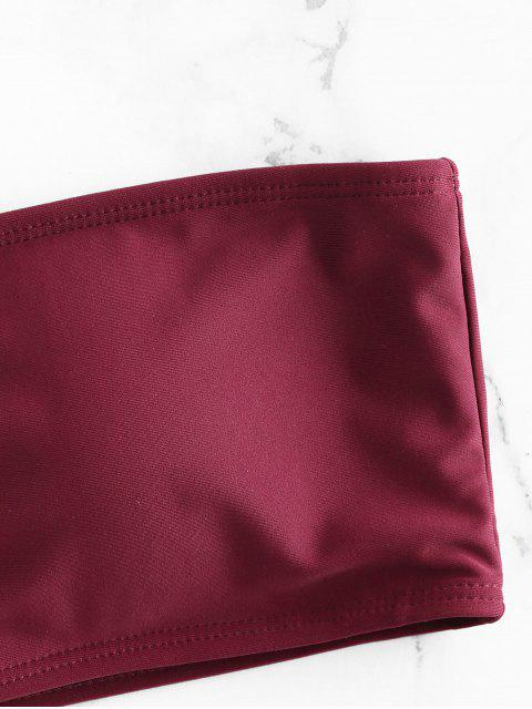 new Lattice Side Bandeau Bikini - RED WINE L Mobile
