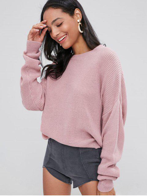 women ZAFUL Chunky Knit Loose Sweater - PINK BUBBLEGUM ONE SIZE Mobile