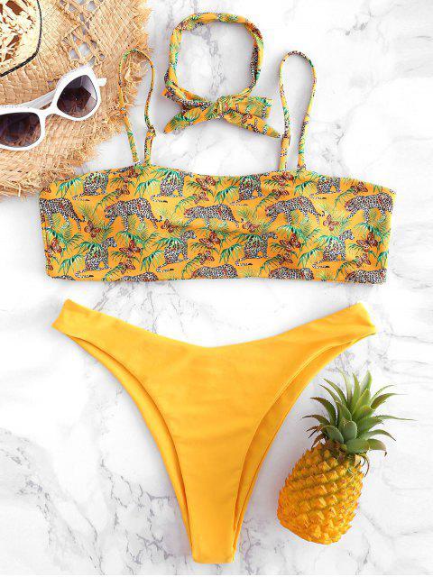 womens Plus Size Leopard High Cut Bikini - RUBBER DUCKY YELLOW 3X Mobile