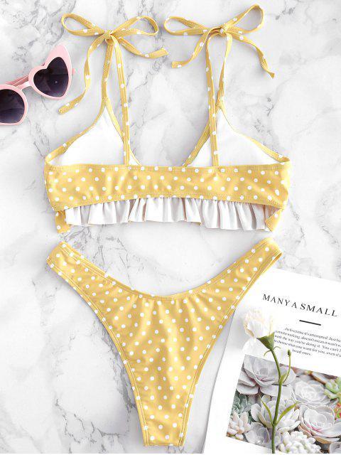 fancy Tie Shoulders Ruffle Polka Dot Bikini Set - YELLOW M Mobile