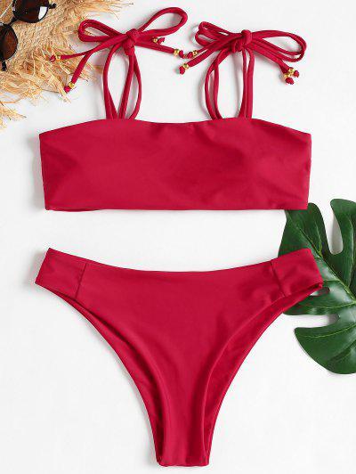 92f3a67f24 Tie Shoulder High Cut Bikini - Cranberry M
